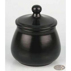 Tabaktopf Keramik schwarz matt