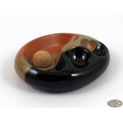 Pfeifenascher Keramik schwarz/braun oval 2 Ablagen