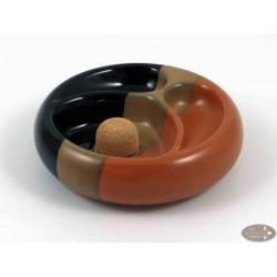 Pfeifenascher Keramik schwarz/braun rund 2 Ablagen