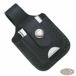 Zippo Ledertasche schwarz mit Lasche