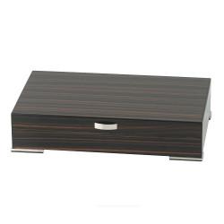 Humidor Makassar Design Füße & Griff chrom 7x 34 x 20 cm