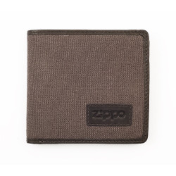 Geldbörse Zippo Leder/Canvas Mocca-grau 7 Karten 11x10,5x1,5cm