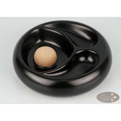 Pfeifenascher Keramik rund schwarz matt 2 Ablagen