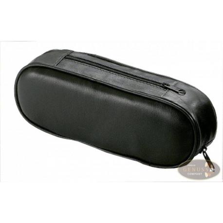 Pfeifentasche 1er Leder schwarz Nappa mini