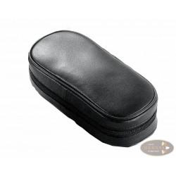 Pfeifentasche 2er Leder schwarz Lammnappa mit Schlaufe
